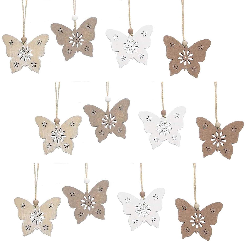 Deko-Hänger Natur 8er Set Deko Fensterdeko Holz Blume Schmetterling Hänger