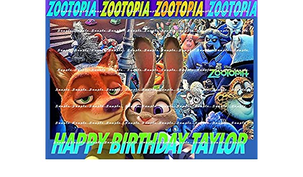 """Zootropolis Personalised Birthday Cake Topper Edible 7.5/"""" Wafer Cake Decoration"""