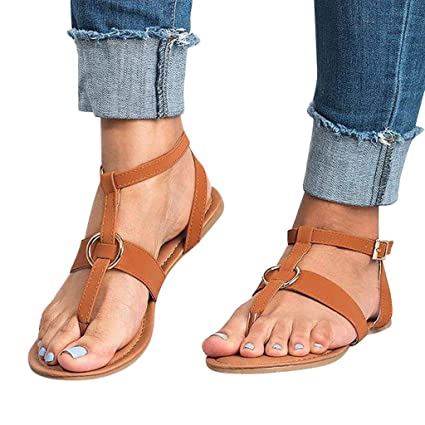 Women/'s Sandals Buckle Flat Slingbacks Thong Gladiator Flip Flops Y-Strap Shoes