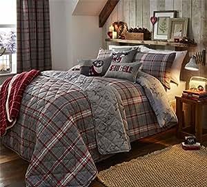 Highland comprobar plata de ciervo rojo algodón cepillado King size (Plain gris oscuro–Sábana bajera de 152x 200cm + 25) 4piezas Juego de cama