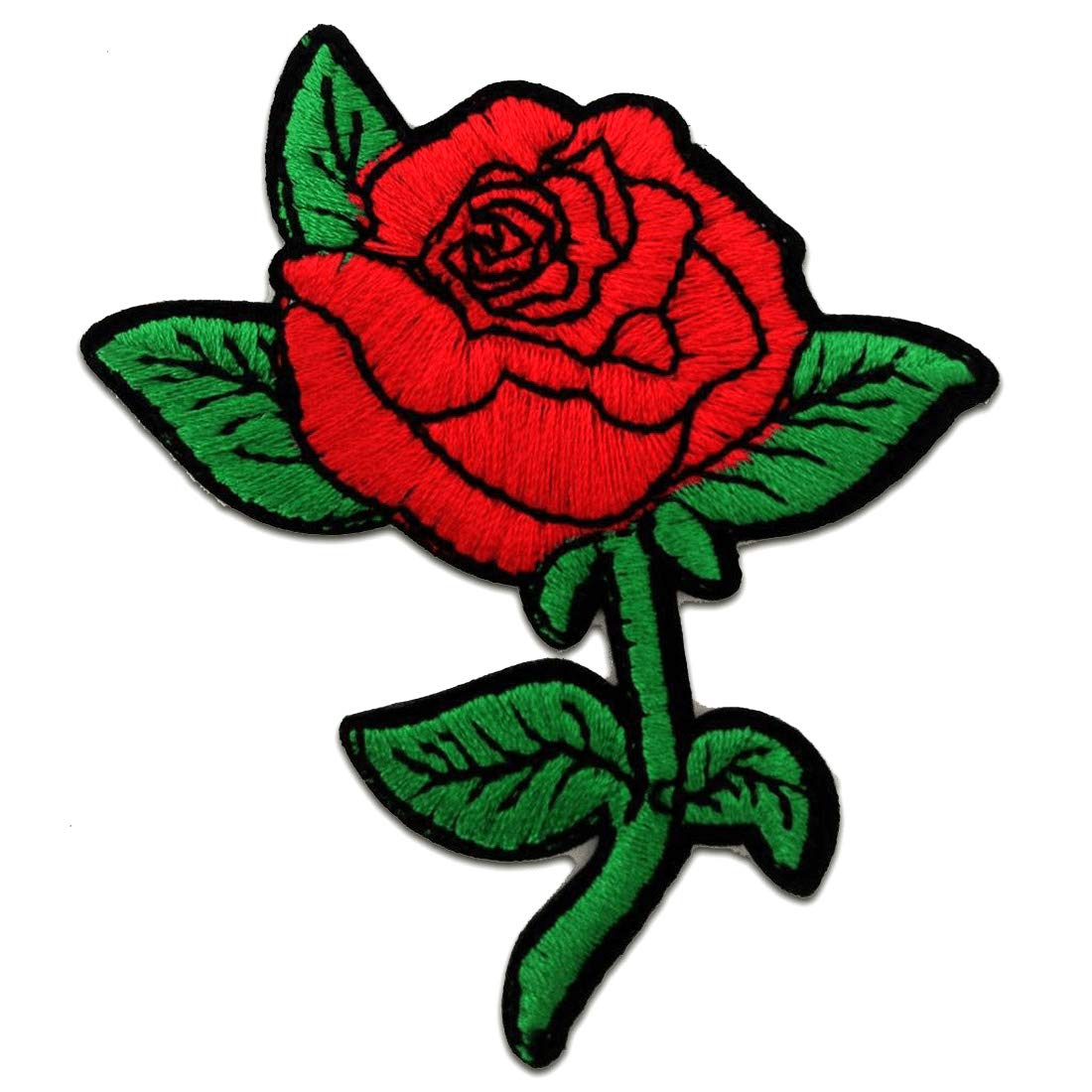Beautiful Roses Patch ''6,8 x 7,8 cm'' Patch - Embroidered Iron On Patches Sew On Patches Embroidery Applikations Applique Embroidered Iron On Patches Sew On Patches Embroidery Applikations Applique Catch-the-Patch.de