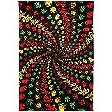 Sunshine Joy 3D Cheech & Chong Rasta Spiral Tapestry Tablecloth Wall Art Beach Sheet Huge 60x90 Inches - Amazing 3D Effects