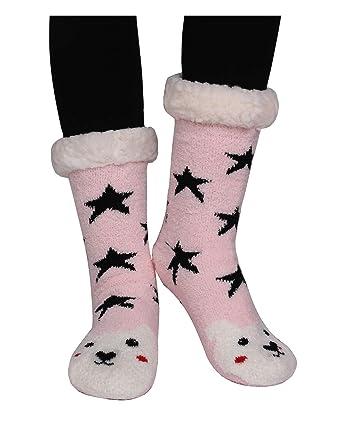 Amkun Womens Girl Super Soft Cute Knit Cartoon Animal fuzzy Cozy Non-Slip  Winter Slipper 20b2bb887