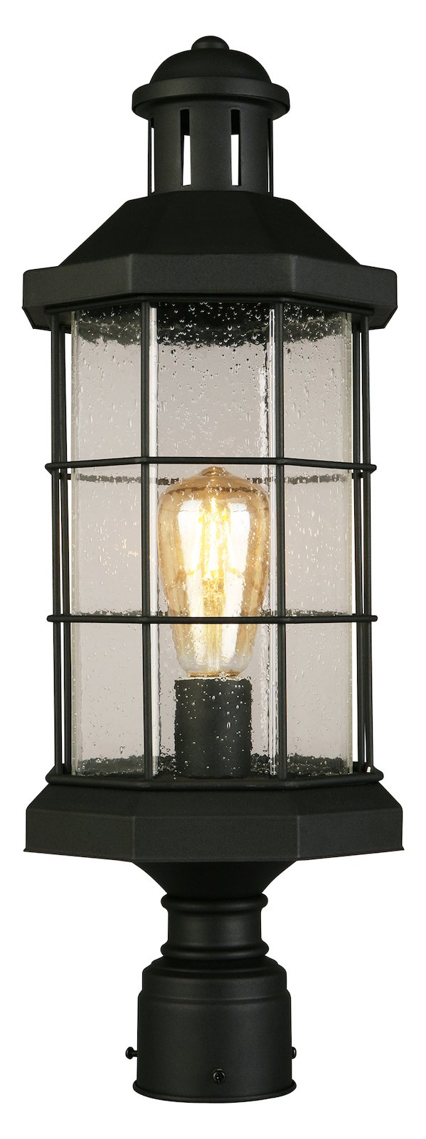 1X60W Outdoor Post Light W/ Matte Black Finish And Clear Seeded Glass