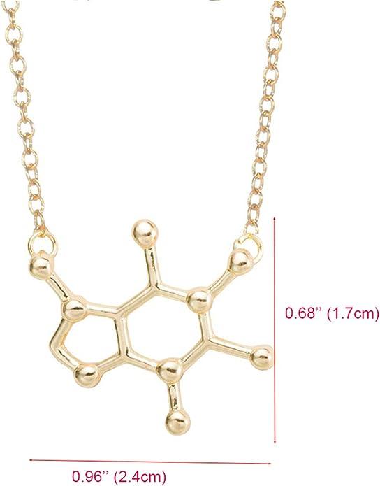 Caffeine Molecule Necklace Structure Chemistry Necklace Pendant Chain Necklaces