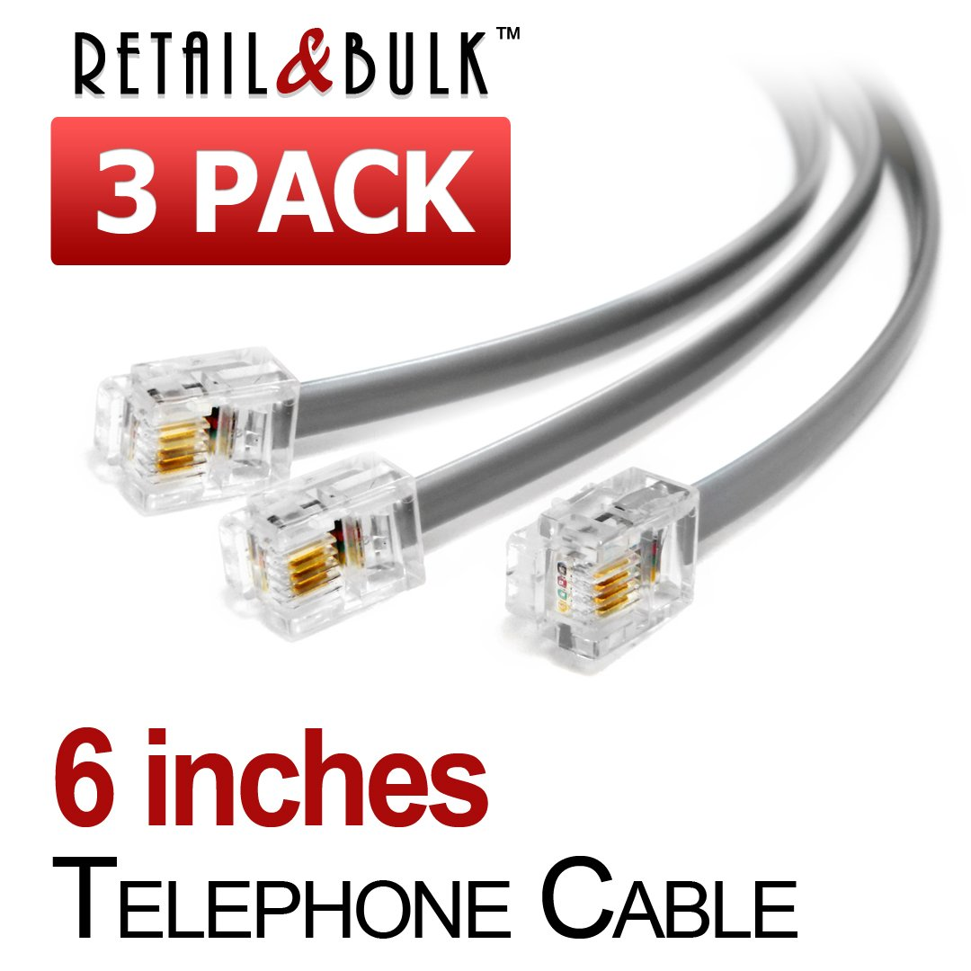 (3 Pack) 6 inch Short Telephone Cable Rj11 Male to Male, 6p4c Phone Line Cord (Grey)