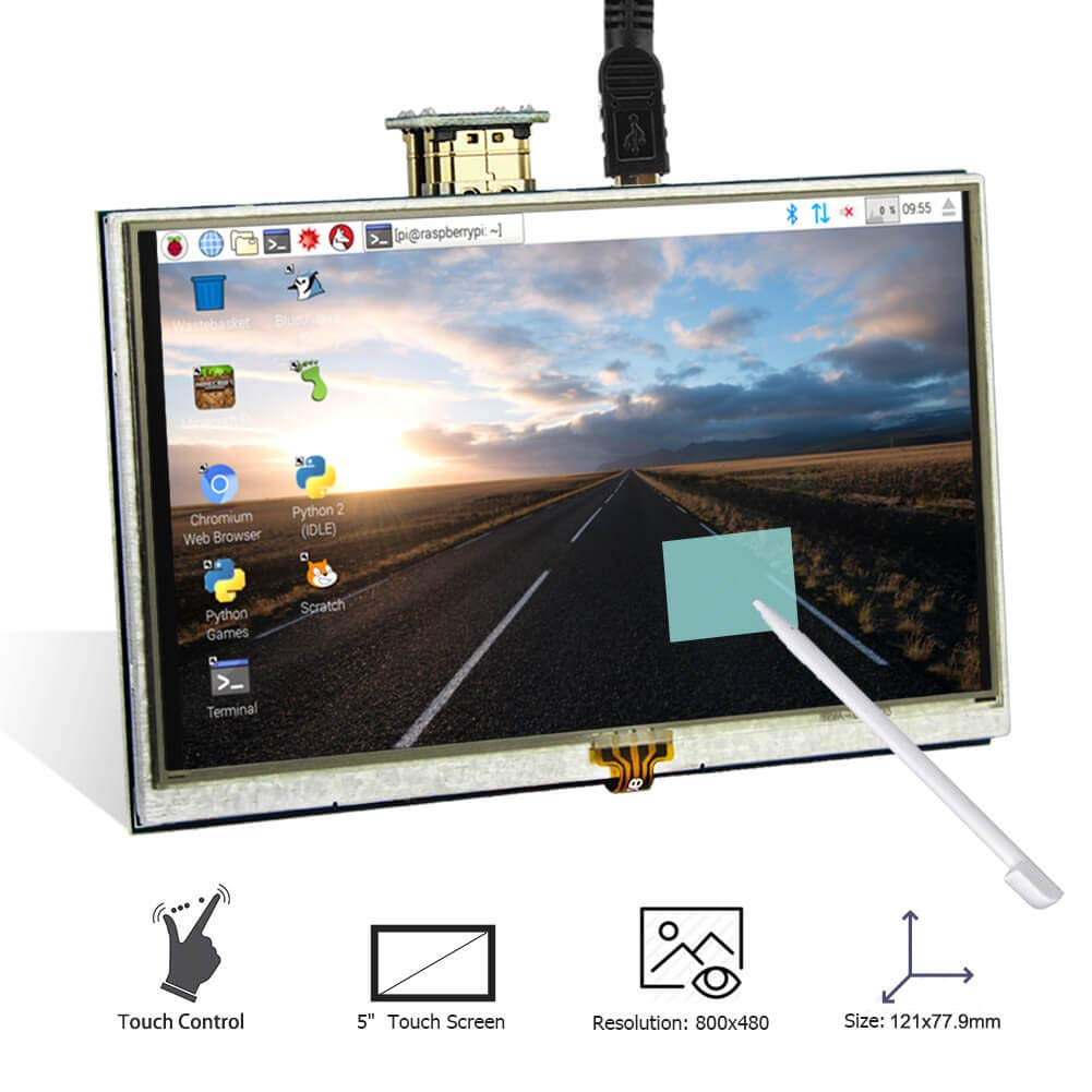 ELECROW 5 Inch Touch Screen 800x480 TFT LCD Display HDMI Interface for  Raspberry Pi 3B+ 3B 2B+ BB Black Banana Pi Windows 10 8 7