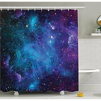 amazon com chengsan galaxy shower curtain set starry night nebula
