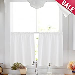 Kitchen Tier Curtains 24 inch White Semi Sheer Cafe Curtains Casual Weave Textured Short Curtains for Small Window Rod Pocket Bathroom Window Treatments