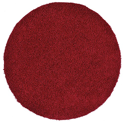 - New Shaggy Collection Solid Color Shag Rug Different Color Options Available (Red, 5' Round)