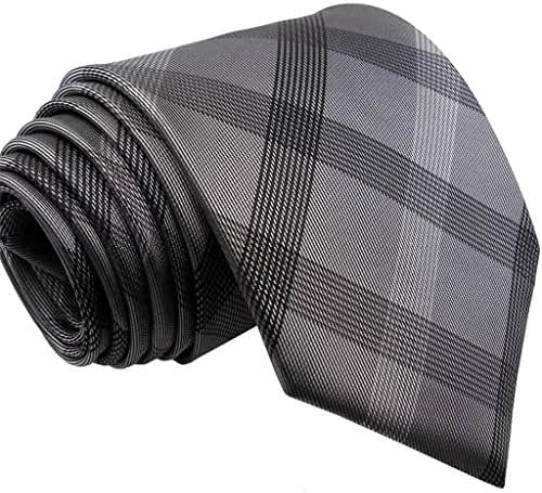 S1 Shlax&Wing Extra Long Size Checked Gray Mens Neckties Ties 100% Silk 63