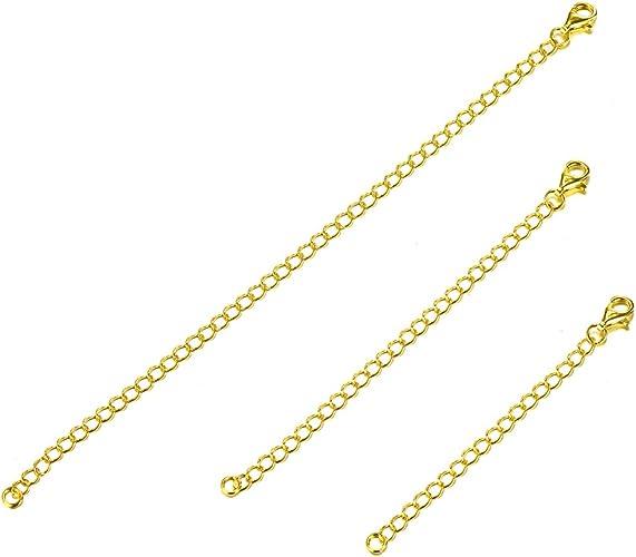 Sllaiss 3 Pcs 925 Sterling Silver Necklace Chain Extender Bracelet Anklet Chain Set for Necklace Adjustable Length 2 3 4