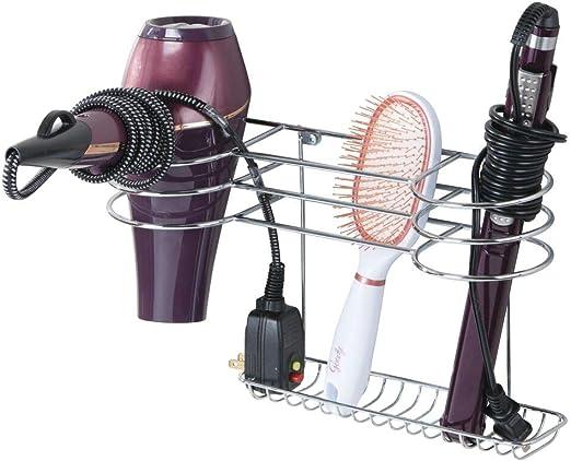 Estante de ba/ño ideal para guardar secador y plancha de pelo Organizador de pared en metal con varios soportes mDesign Soporte para secador de pelo para fijar en la pared negro