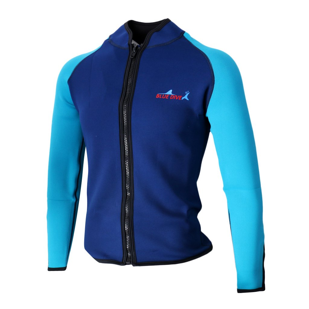 monkeyjack大人用2 mmメンズネオプレンLong Sleeve Scuba Divingジャケットウェットスーツ水着冬水泳サーフTop – 色&サイズの選択を B0772K7KRB Large Navy Blue L Navy Blue L Large