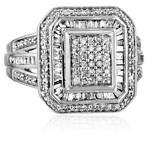 Sterling Silver Diamond (1cttw, I-J Color, I2-I3 Clarity) Fashion Ring, Size 8 by Amazon Collection