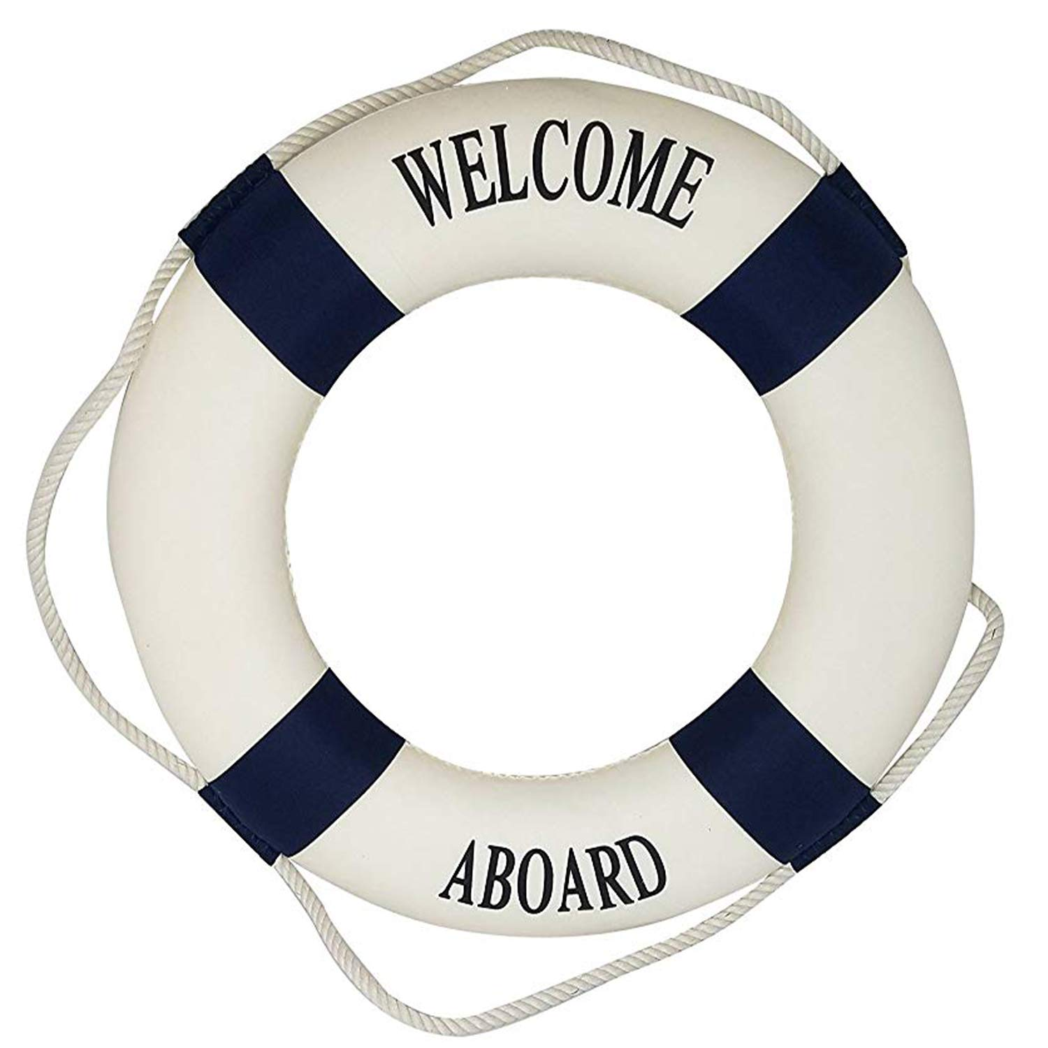 Royal Brands Welcome Aboard - Nautical Decorative Life Ring Buoy - Home Wall Decor - Nautical Decor - Decorative Life Ring Preserver (20x3.5x20)
