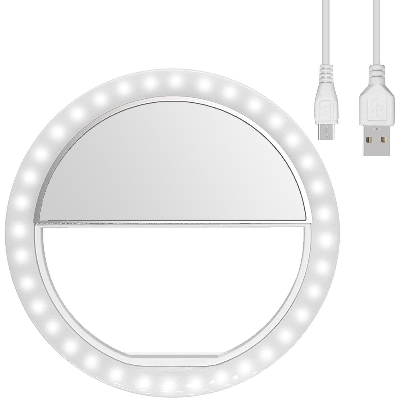 Diyife Anillo De Luz Recargable Selfie Anillo de luz 3 niveles de ajuste del brillo