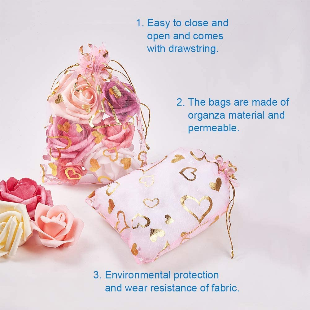 Gold Heart Outdoorfly 50PCS Organza Gift Bags Drawstring,4x6 Inches Jewelry Pouches Drawstring Bags,Heart Printed Mesh Bags,Wedding Party Christmas Favor Baby Shower Bags,Candy Chocolate Sample Bags