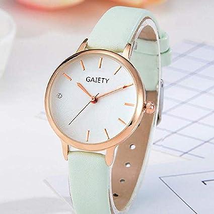 Scpink Relojes de Cuarzo para Mujer, Venta análoga a la Venta Relojes de Pulsera para Mujer Relojes de niña Relojes de Cuero para Mujer (Menta Verde): ...
