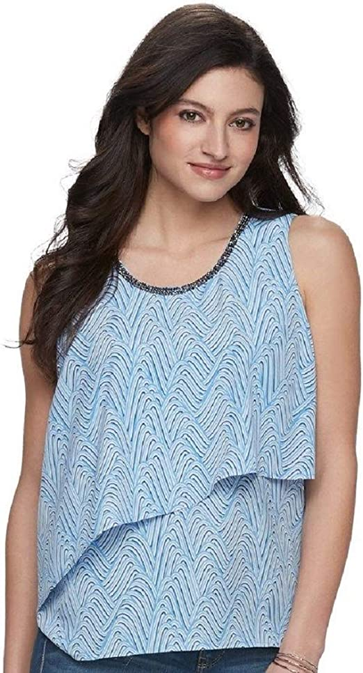 Fashion By Together Sleeveless Tunic with Embellished Neckline Blue Multi XS NWT