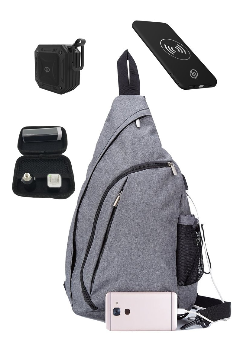 TECHQ Bug Out bag Accessory bundle for small laptops great for a weekend away (Gray Bag)