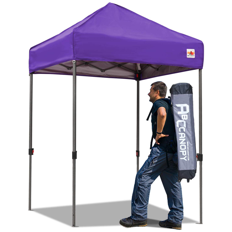 ABCCANOPY Pop up Canopy 5'x5' Portable Canopy Tent Bonus Carry Bag Tent Stakes (Purple-a)