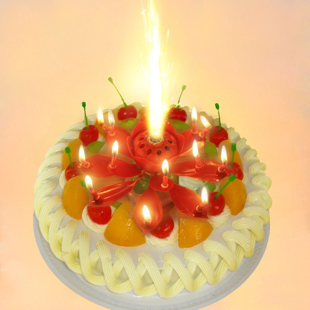 Pink Sparkling Musical Lotus Happy Birthday Candle Flower Cake