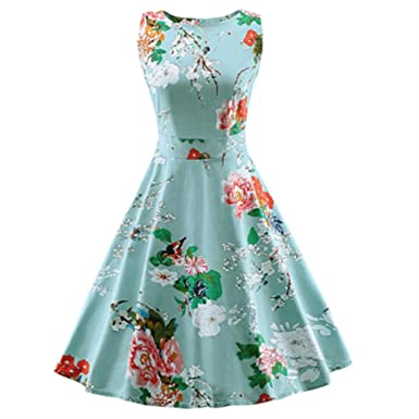 Plus Size Women Vintage Dress A Line Swing Retro Vestidos