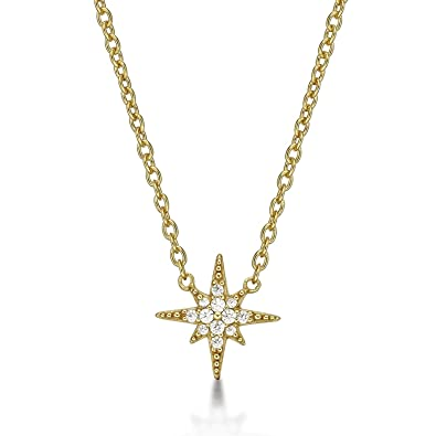 249063caf5a46 Diamond Treats SHINING STAR Necklace in 925 STERLING SILVER for Women set  with Sparkling Cubic Zirconia. Silver, Yellow Gold or Rose Gold Ladies ...