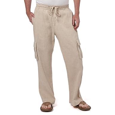 f802c39044 Liash Men's Drawstring Cargo Pants - Men's Linen Pants for Wedding -  Lightweight Linen Pants Big &Tall for Beach- Beige