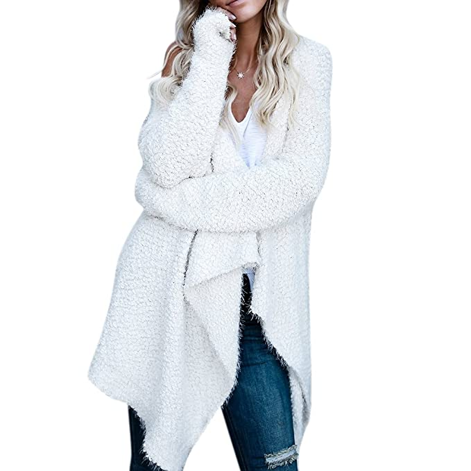3463c917fb Image Unavailable. Image not available for. Color  iShine Womens Casual  Open Front Long Sleeve Solid Color Long Thick ...