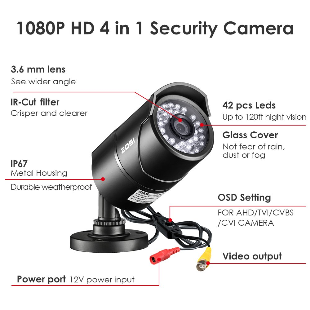 2.5X 1080P ZOSI 5.0MP CCTV Camera System 8 Channel 5.0MP CCTV DVR System with 1TB Hard Drive 4 Weatherproof Dome Cameras Super long 65ft night vision 2560TVL 5.0MP 1920p
