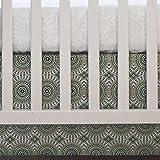 "Oliver B Crib Skirt Nursery Bedding, Navy/Grey/Gold, Pinwheel – 100% Cotton – 26"" x 51"" with 14"" Drop"