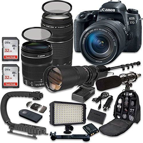 Canon EOS 77D DSLR Camera Bundle with Canon EF-S 18-135mm f/3.5-5.6 is USM Lens + Canon EF 75-300mm f/4-5.6 III Lens + 500mm f/8 Preset Lens + Accessory Kit For Sale