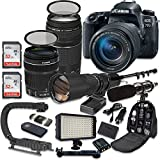 Canon EOS 77D DSLR Camera Bundle with Canon EF-S 18-135mm f/3.5-5.6 is USM Lens + Canon EF 75-300mm f/4-5.6 III Lens + 500mm f/8 Preset Lens + Accessory Kit