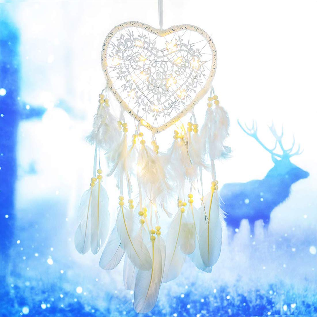 White-Love Handmade Dreamcatcher Feather Indian Wall Hanging Decoration LED Dream Catcher Ornament for Warm Homes Kids Room Living Room Teepee Tents D/écor
