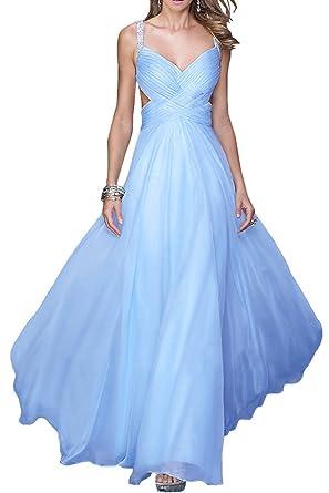 Missdressy Damen Abendkleid Ballkleid Rueckenfrei Lang Traeger Falte Chiffon:  Amazon.de: Bekleidung