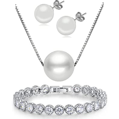 "4849fb41d 'KIM Johanson Ladies' Jewellery Set ""Pia Freshwater Pearl Necklace 925  Sterling Silver"