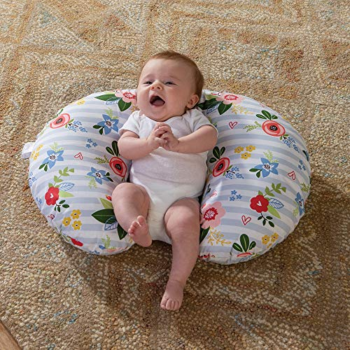 61g1ktpIEdL - Boppy Original Nursing Pillow And Positioner, Blue Pink Posy, Cotton Blend Fabric With Allover Fashion