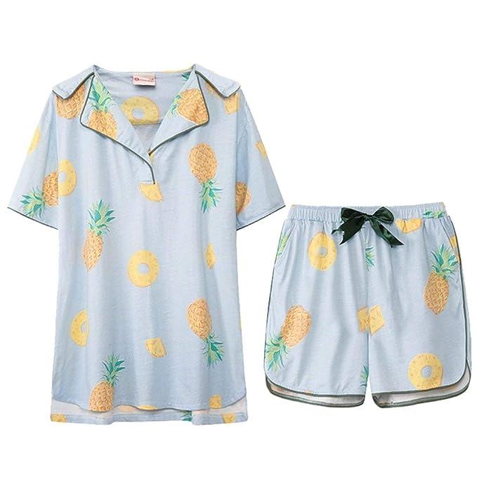 Mujer Camisones Primavera Otoño Batas Pantalon Tops 2 Pedazos Elegantes Moda Fashionista Classic Piña Impreso Conjunto De Pijama Manga Corta V-Cuello Un ...