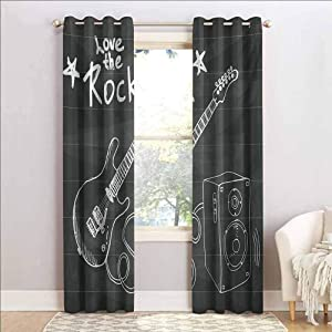 ScottDecor Guitar Heat Absorbing Curtain Energy Efficient Room Darkening Home Love The Rock Music Themed Sketch Art Sound Box and Text on Chalkboard Charcoal Grey White 50