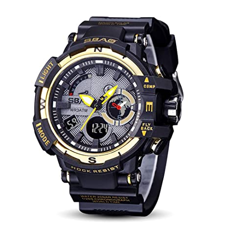 Reloj Digital Deportivo De Los Hombres Pantalla Luminosa Gran Cara Electrónica Militar Reloj Impermeable Alarma Cronómetro