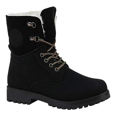 Stiefelparadies Damen Stiefeletten Worker Boots Übergrößen Warm Gefüttert Flandell