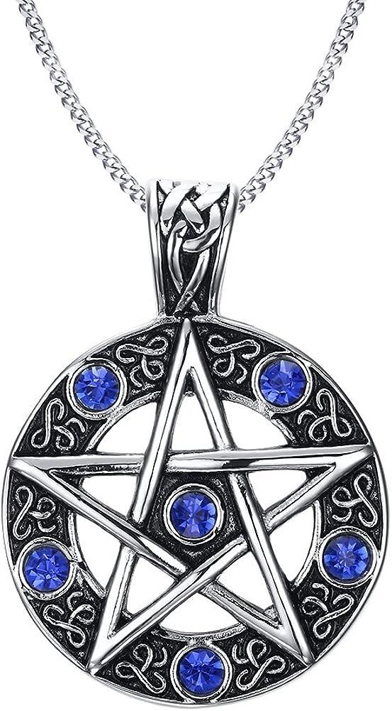 VNOX Acero Inoxidable Azul Cristal Pentagrama de la Familia Estrella Colgante Collar para Hombres Mujeres Wiccan joyería