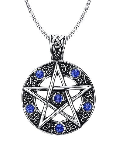 e055e50c62b6 Vnox Acero inoxidable azul cristal pentagrama de la familia estrella  colgante collar para hombres mujeres wiccan joyería  Amazon.es  Joyería