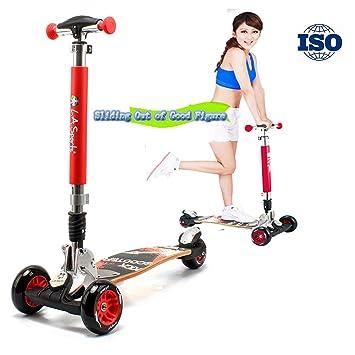 RISILAYS Adultos Patinete Scooter 3 Ruedas Gimnasio al Aire Libre Plegable Altura Adjustable para Niños Vespa de Deriva de Grande para Adultos Atlético ...