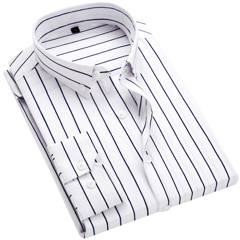 DOKKIA Men's Casual Long Sleeve Vertical Striped Slim Fit Dress Shirts (White Black, X-Large)