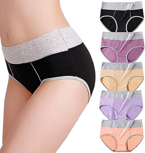 Anntry Ropa Interior de algodón para Mujer Bragas Cintura Media-Alta Calzoncillos elásticos Transpirables Suaves Calzoncillos para Damas (Paquete de 5): Amazon.es: Ropa y accesorios