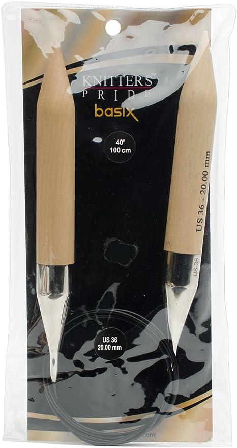 15.0mm Knitting Needles; Size US 19 Knitters Pride Basix Circular 40-inch 400244 100cm
