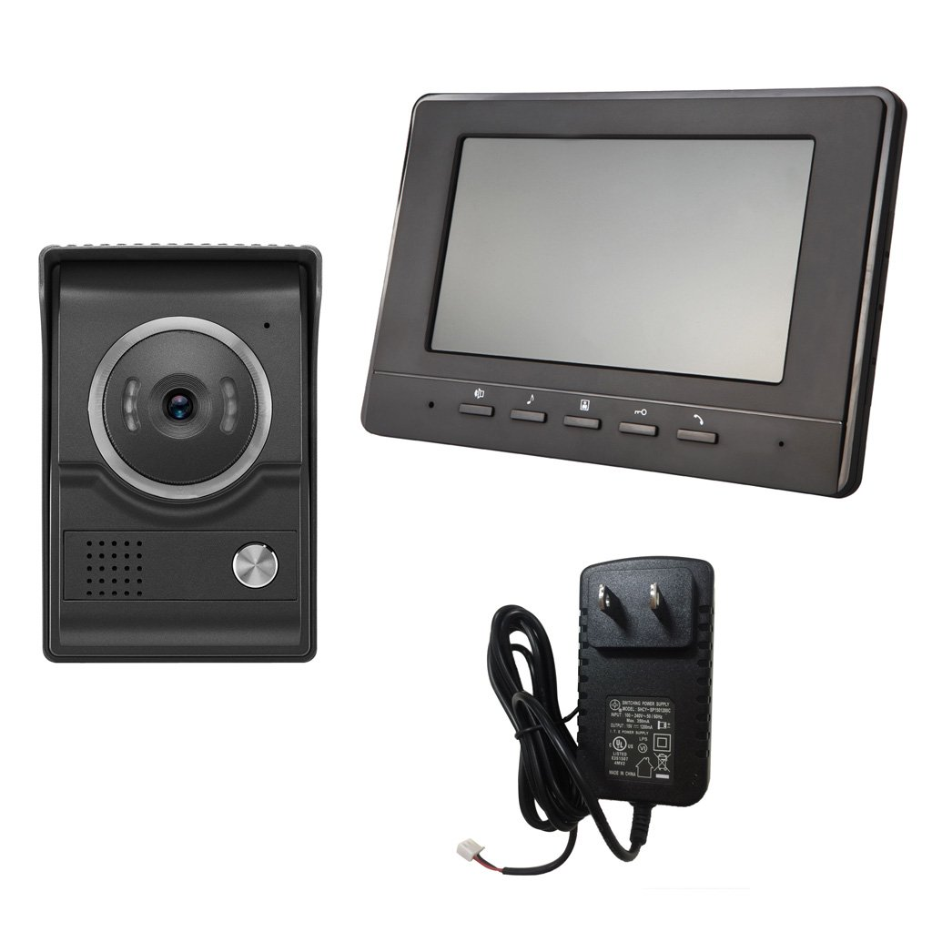 Blesiya 7inch LCD Camera Video Doorbell Intercom Monitor Safety US Standard - Black